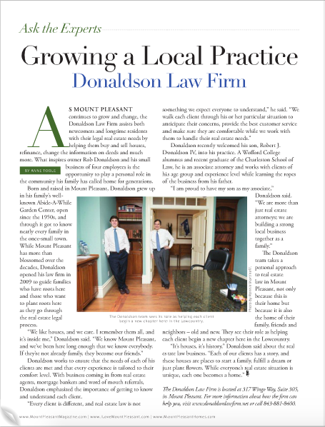 Donaldson Law Firm featured in Mount Pleasant Magazine